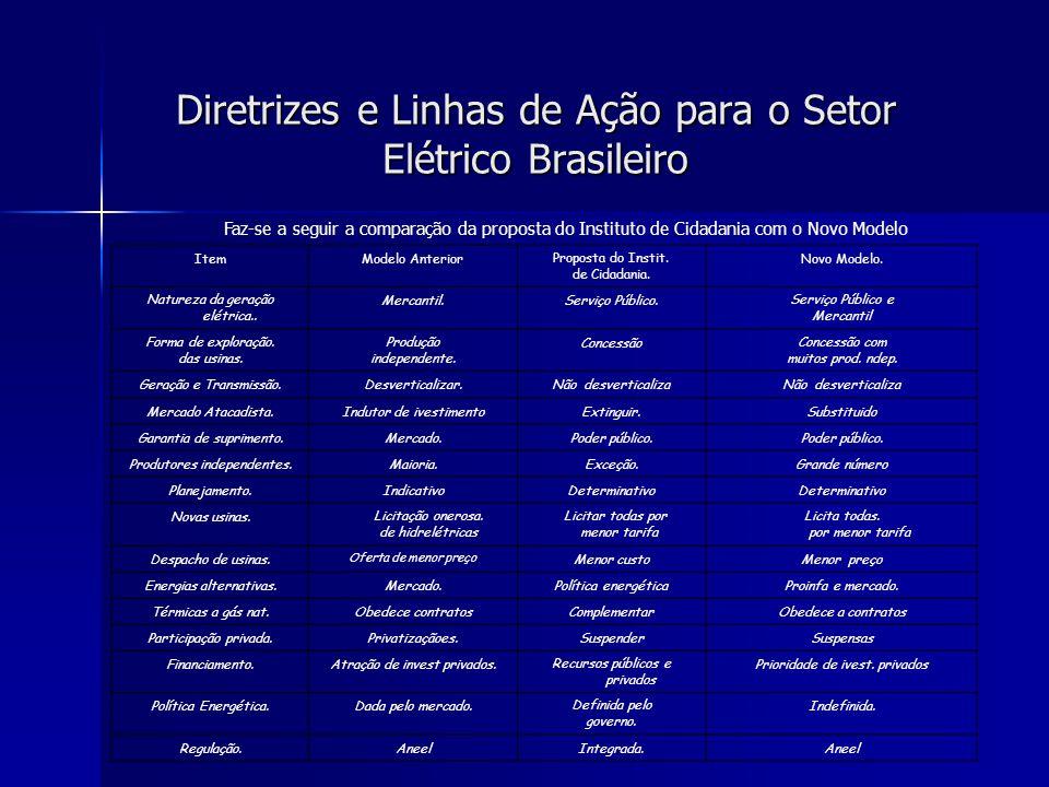 Diretrizes e Linhas de Ação para o Setor Elétrico Brasileiro