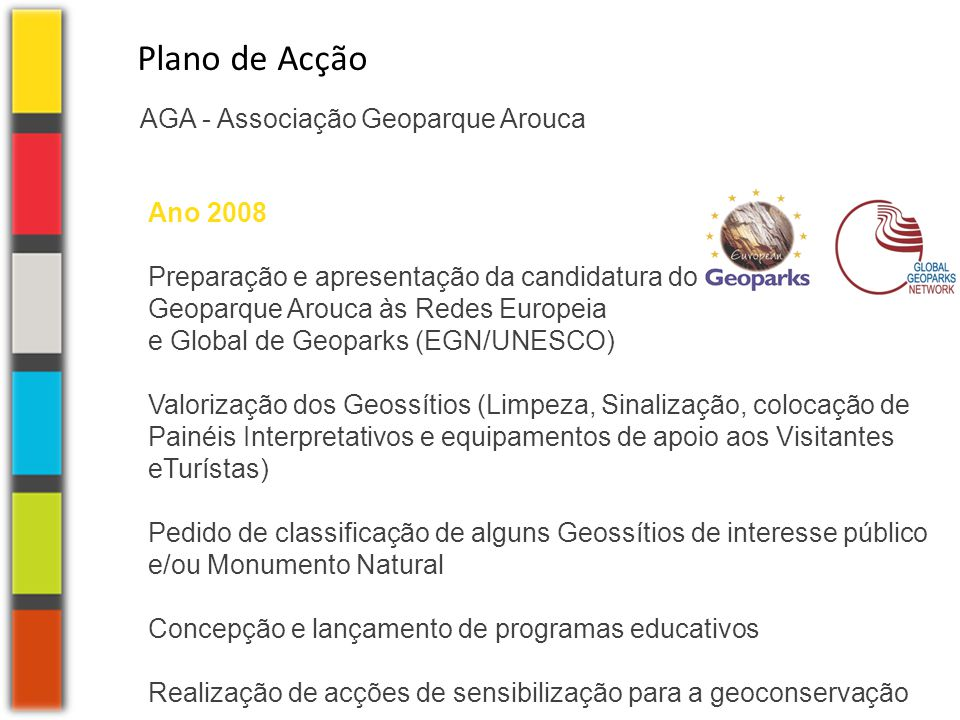 Plano de Acção AGA - Associação Geoparque Arouca Ano 2008
