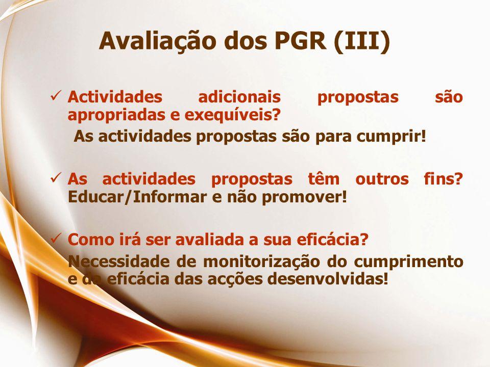 Avaliação dos PGR (III)