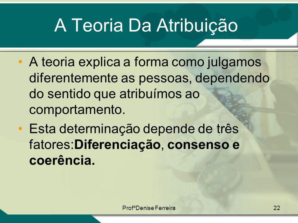 A Teoria Da Atribuição A teoria explica a forma como julgamos diferentemente as pessoas, dependendo do sentido que atribuímos ao comportamento.