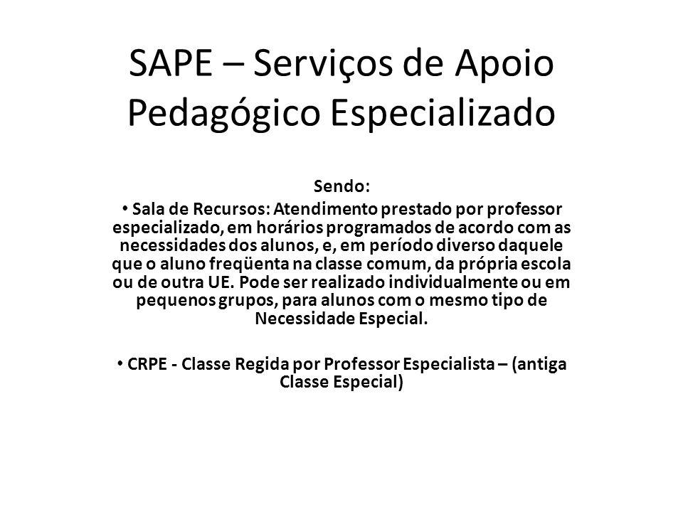 SAPE – Serviços de Apoio Pedagógico Especializado