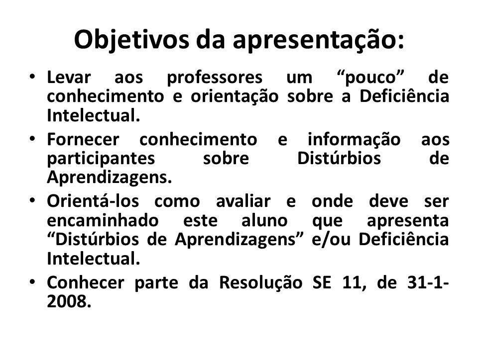 Objetivos da apresentação: