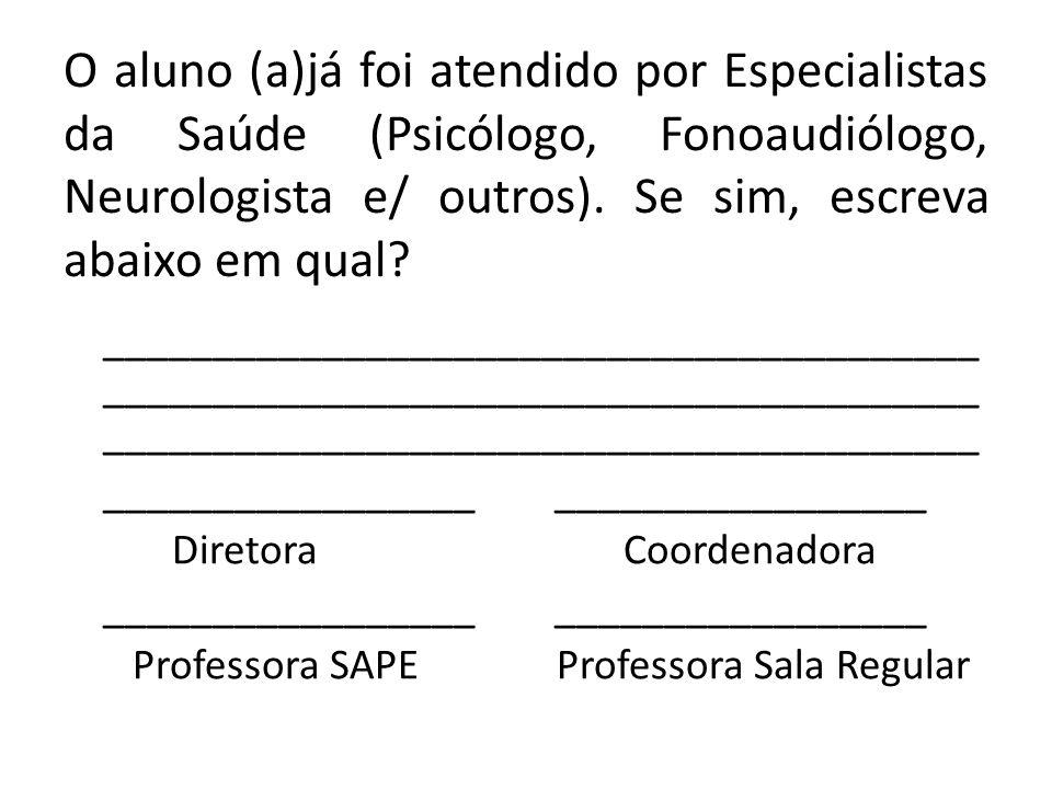 O aluno (a)já foi atendido por Especialistas da Saúde (Psicólogo, Fonoaudiólogo, Neurologista e/ outros). Se sim, escreva abaixo em qual