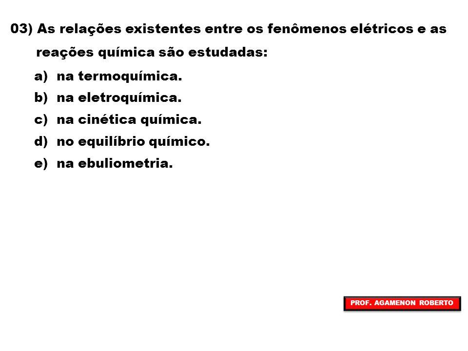 03) As relações existentes entre os fenômenos elétricos e as