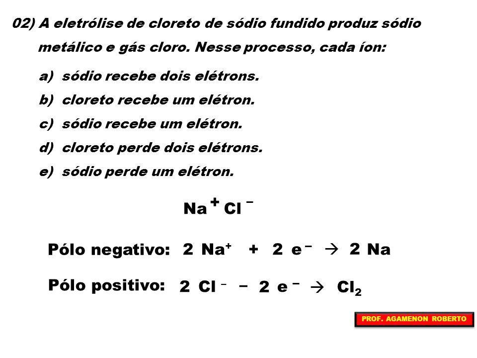 Na + Cl Pólo negativo: Na+ + e  Na 2 Pólo positivo: Cl – – e  Cl2 2