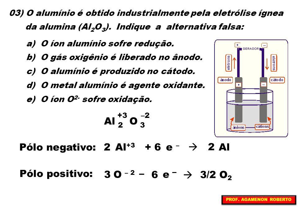 Al O Pólo negativo: Al+3 + e –  Al Pólo positivo: O – 2 – e 3/2 O2 3