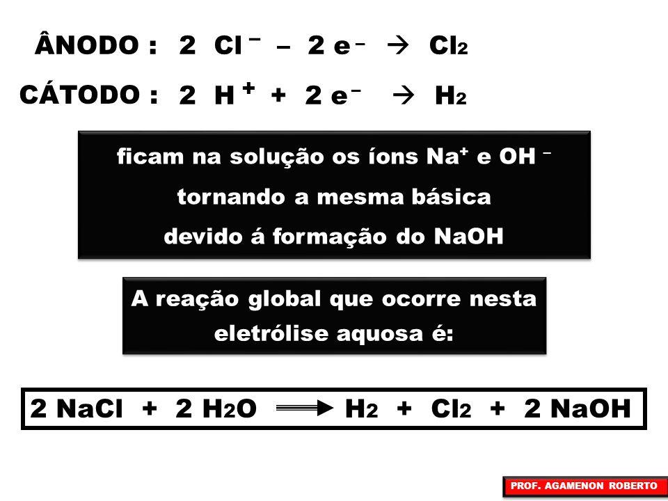 2 Cl – 2 e  Cl2 ÂNODO : CÁTODO : 2 H + 2 e  H2
