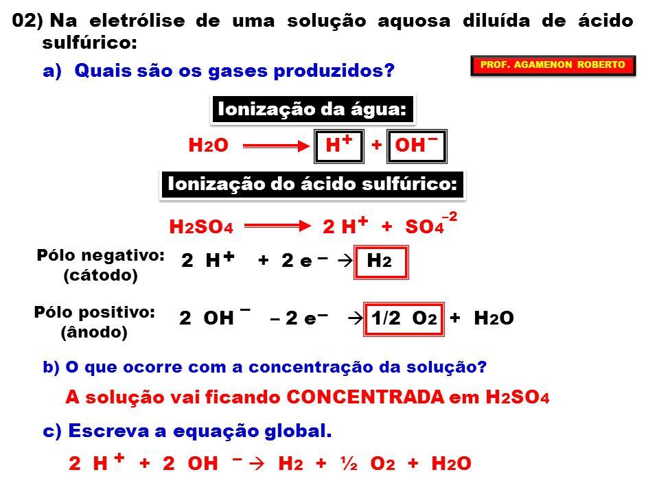 + – – 02) Na eletrólise de uma solução aquosa diluída de ácido