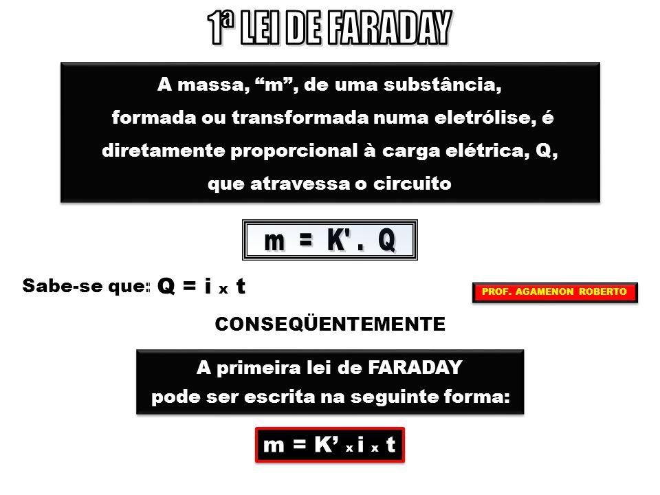 1ª LEI DE FARADAY m = K . Q Q = i x t m = K' x i x t