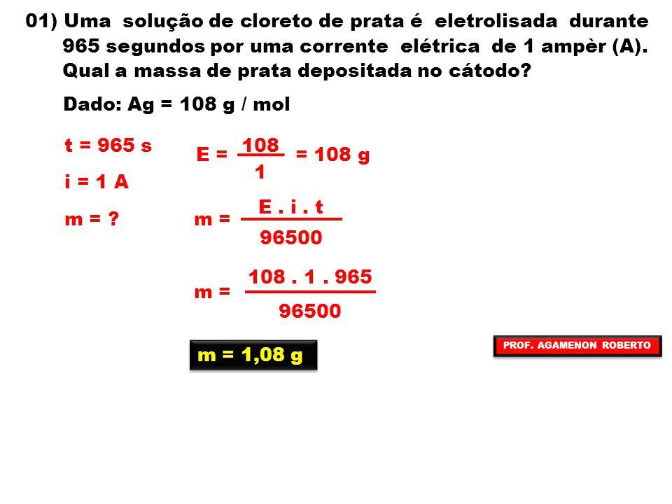 01) Uma solução de cloreto de prata é eletrolisada durante