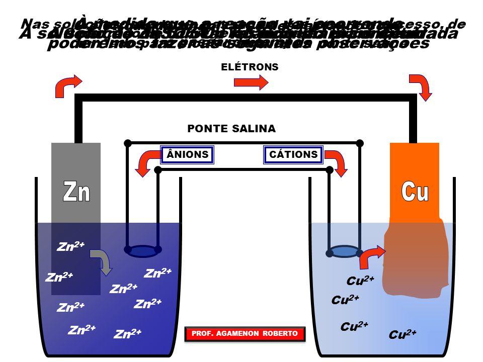 Nas soluções teremos a passagem dos íons, em excesso, de um lado para o outro através da ponte salina