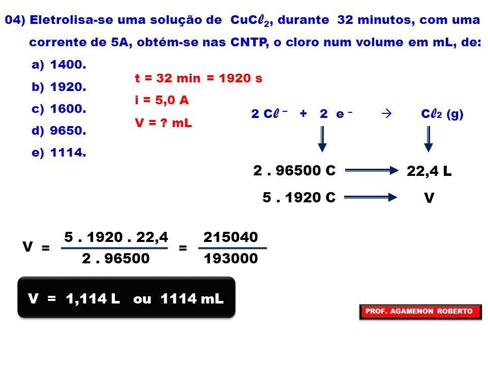 04) Eletrolisa-se uma solução de CuCl2, durante 32 minutos, com uma