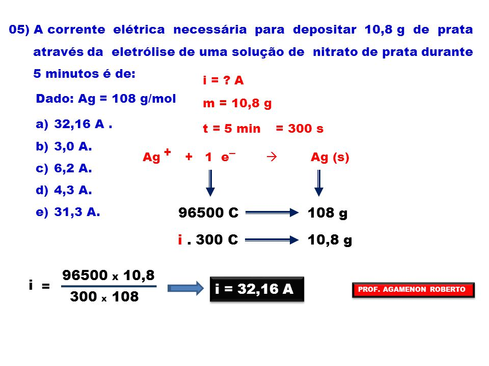05) A corrente elétrica necessária para depositar 10,8 g de prata