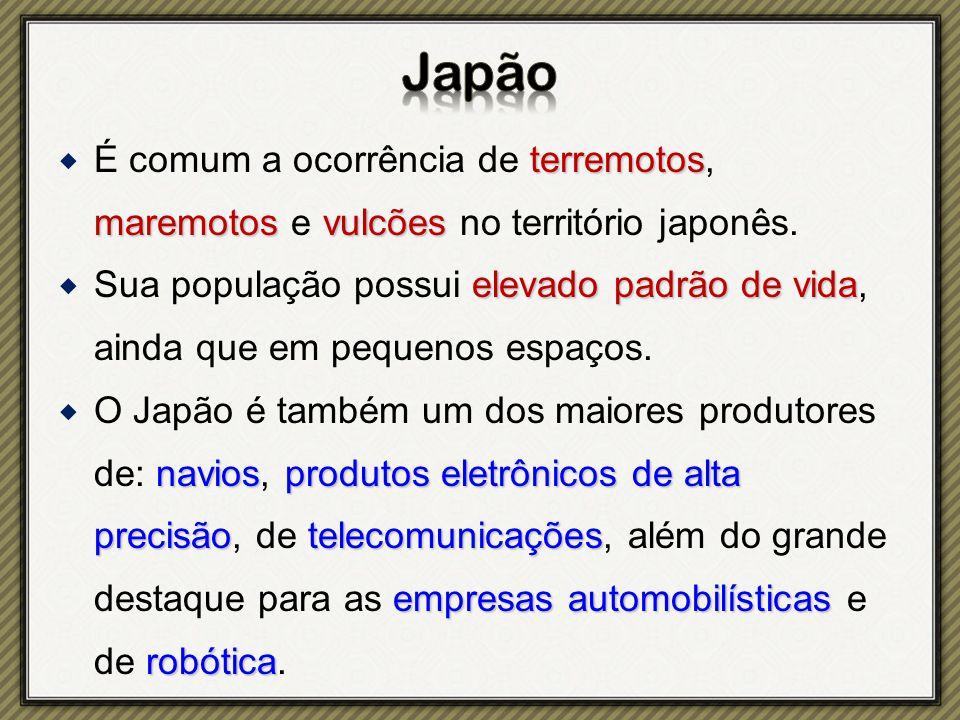 Japão É comum a ocorrência de terremotos, maremotos e vulcões no território japonês.