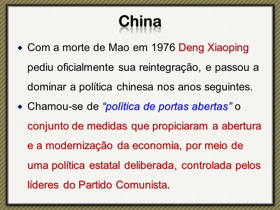 Com a morte de Mao em 1976 Deng Xiaoping pediu oficialmente sua reintegração, e passou a dominar a política chinesa nos anos seguintes.