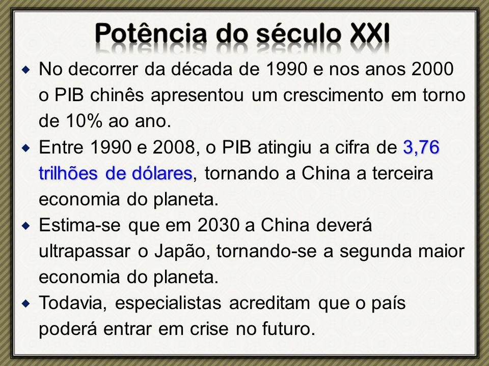 Potência do século XXI No decorrer da década de 1990 e nos anos 2000 o PIB chinês apresentou um crescimento em torno de 10% ao ano.