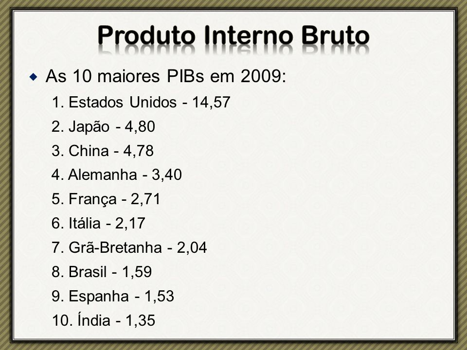 Produto Interno Bruto As 10 maiores PIBs em 2009: