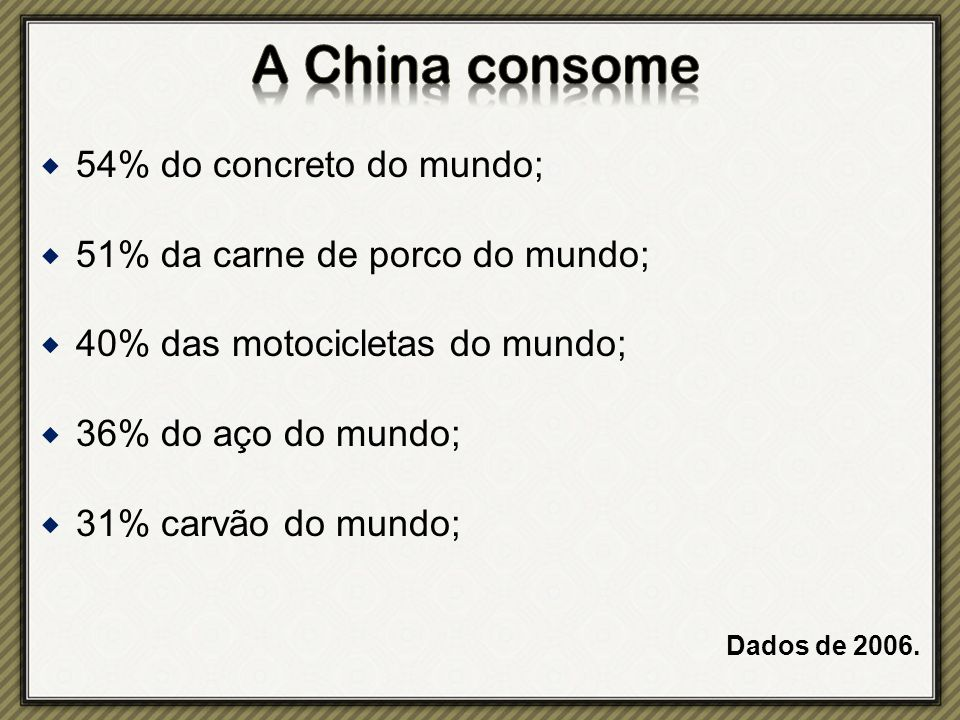 A China consome 54% do concreto do mundo;