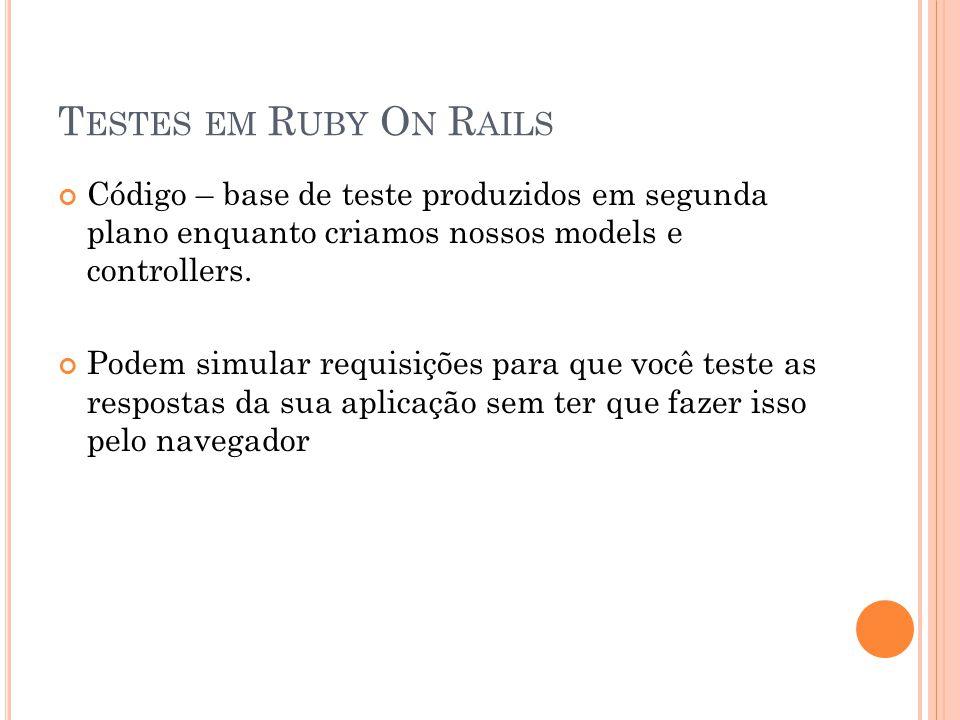 Testes em Ruby On Rails Código – base de teste produzidos em segunda plano enquanto criamos nossos models e controllers.