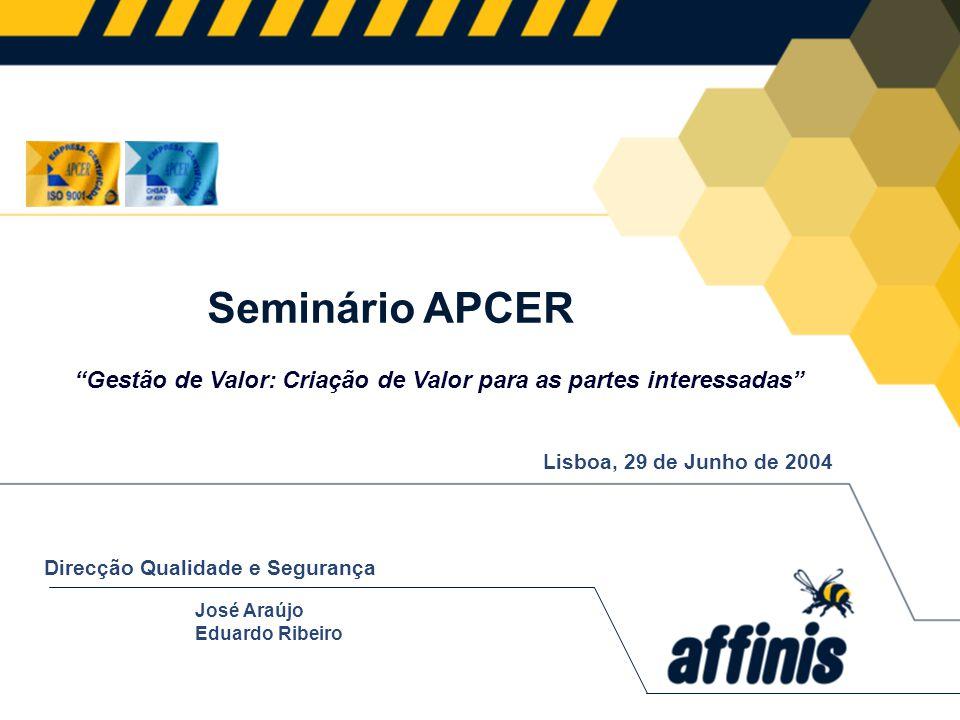 Seminário APCER Gestão de Valor: Criação de Valor para as partes interessadas Lisboa, 29 de Junho de 2004.