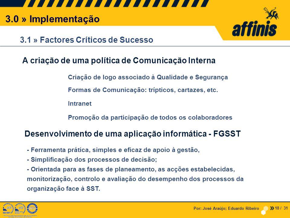 3.0 » Implementação 3.1 » Factores Críticos de Sucesso