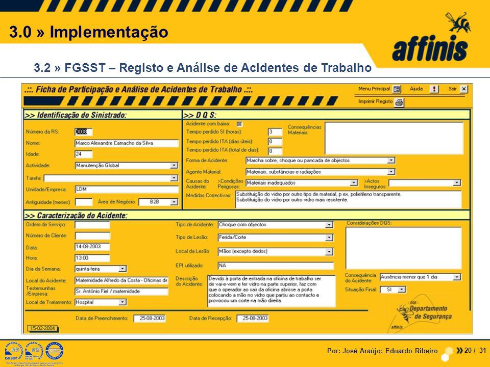 3.0 » Implementação 3.2 » FGSST – Registo e Análise de Acidentes de Trabalho. Por: José Araújo; Eduardo Ribeiro.