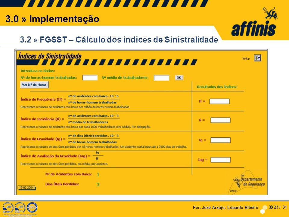 3.0 » Implementação 3.2 » FGSST – Cálculo dos índices de Sinistralidade. Por: José Araújo; Eduardo Ribeiro.