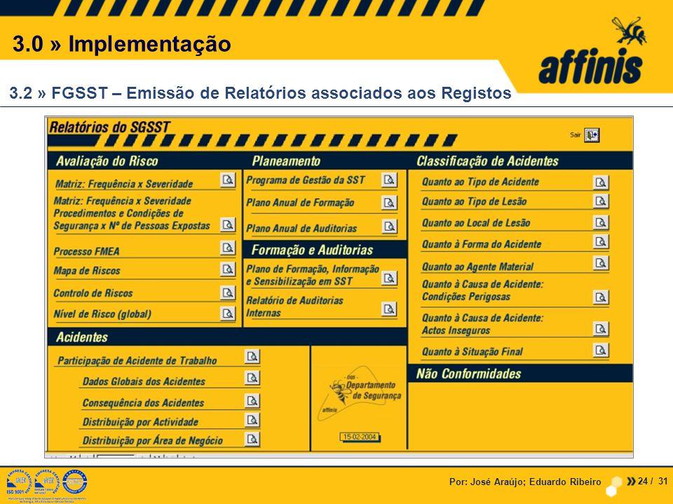3.0 » Implementação 3.2 » FGSST – Emissão de Relatórios associados aos Registos. Por: José Araújo; Eduardo Ribeiro.