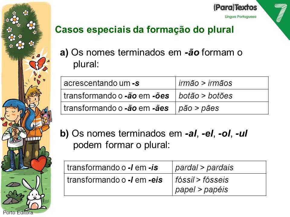 Casos especiais da formação do plural