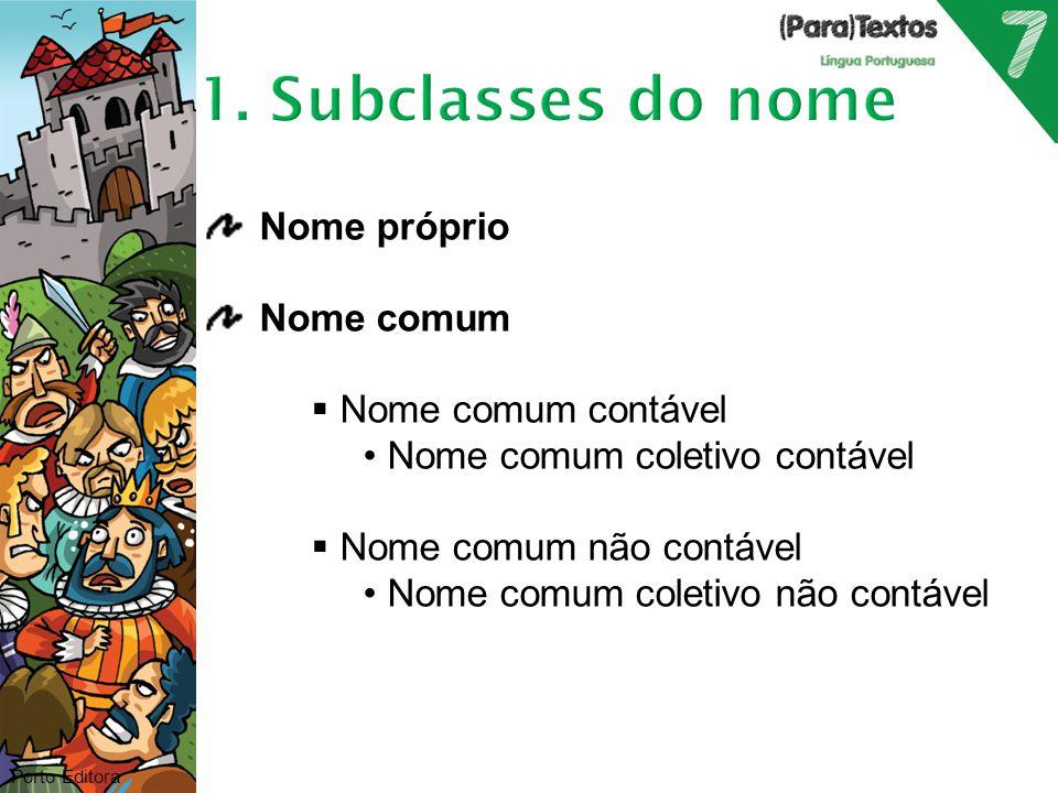 1. Subclasses do nome Nome próprio Nome comum Nome comum contável