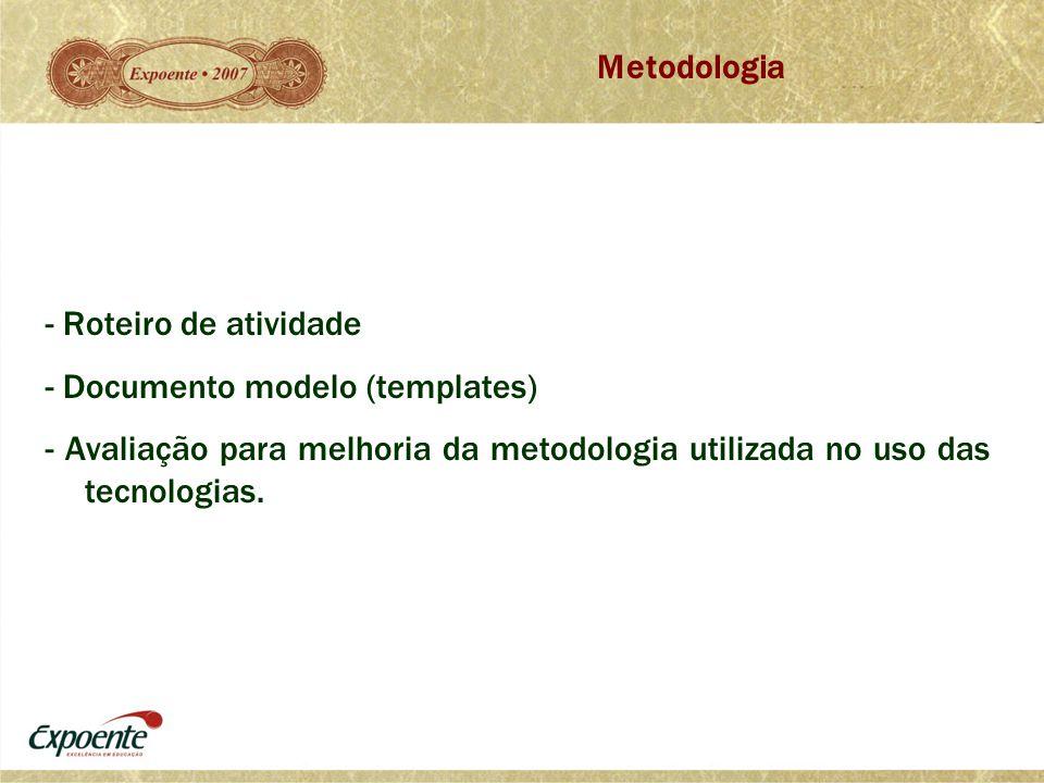 Metodologia - Roteiro de atividade.