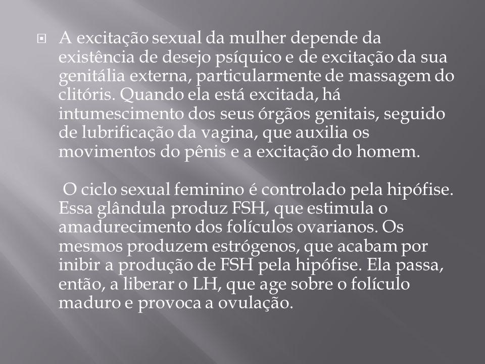 A excitação sexual da mulher depende da existência de desejo psíquico e de excitação da sua genitália externa, particularmente de massagem do clitóris.