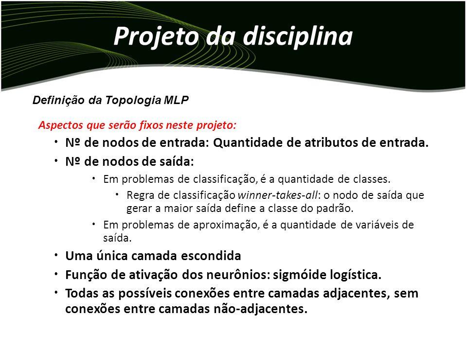 Projeto da disciplina Definição da Topologia MLP. Aspectos que serão fixos neste projeto: