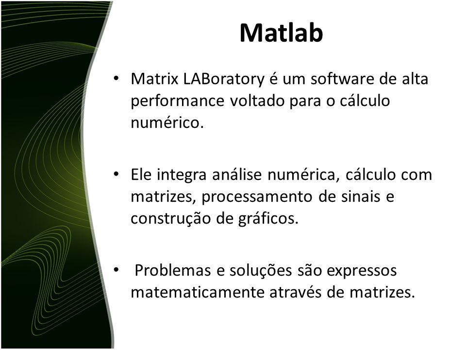 Matlab Matrix LABoratory é um software de alta performance voltado para o cálculo numérico.