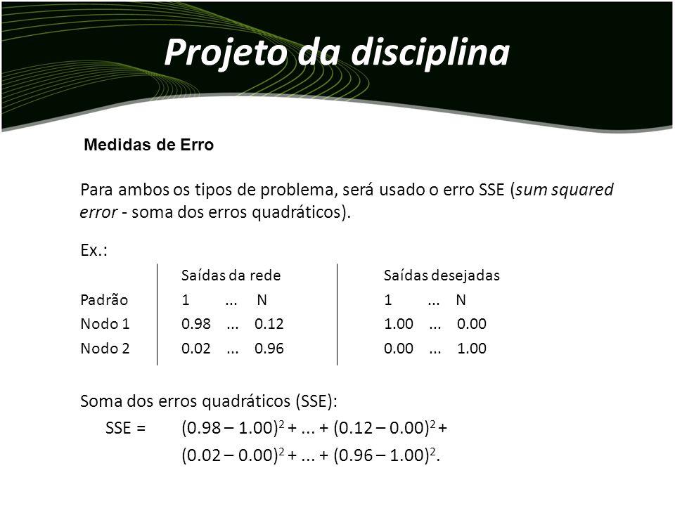 Projeto da disciplina Medidas de Erro. Para ambos os tipos de problema, será usado o erro SSE (sum squared error - soma dos erros quadráticos).