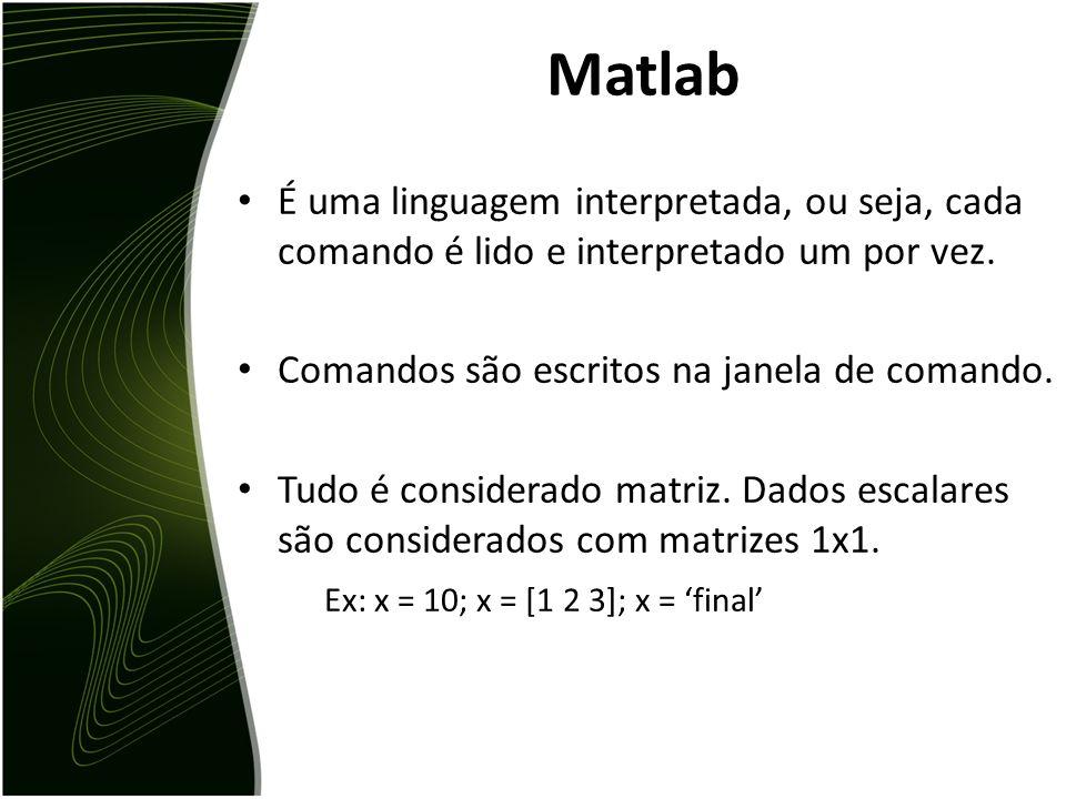 Matlab É uma linguagem interpretada, ou seja, cada comando é lido e interpretado um por vez. Comandos são escritos na janela de comando.