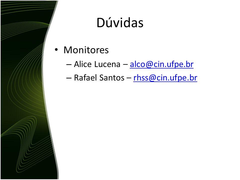 Dúvidas Monitores Alice Lucena – alco@cin.ufpe.br