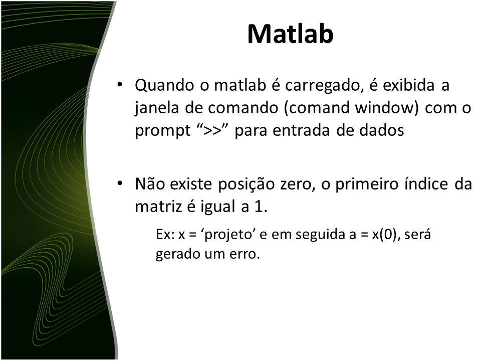 Matlab Quando o matlab é carregado, é exibida a janela de comando (comand window) com o prompt >> para entrada de dados.