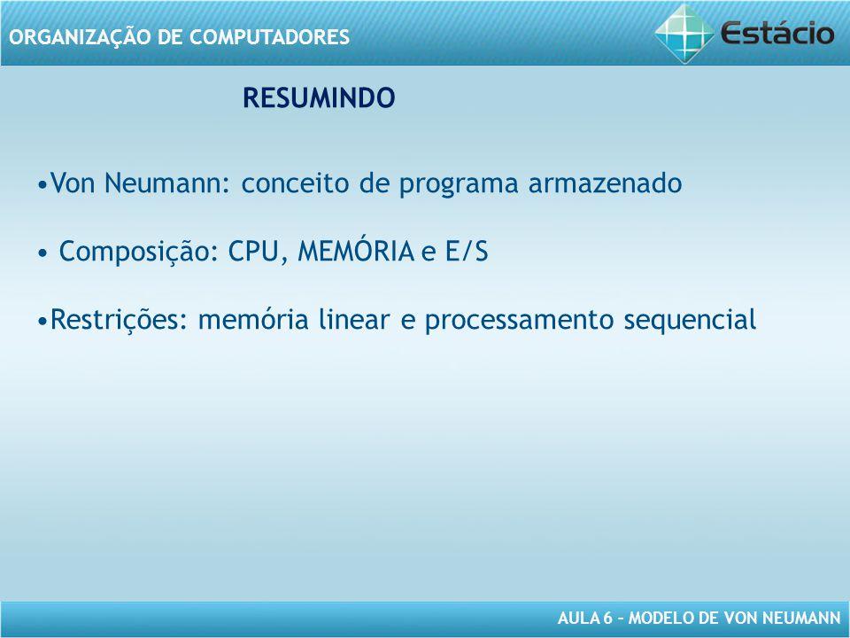 RESUMINDO Von Neumann: conceito de programa armazenado.