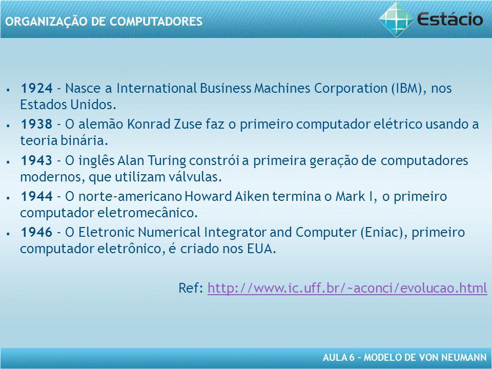 1924 - Nasce a International Business Machines Corporation (IBM), nos Estados Unidos.