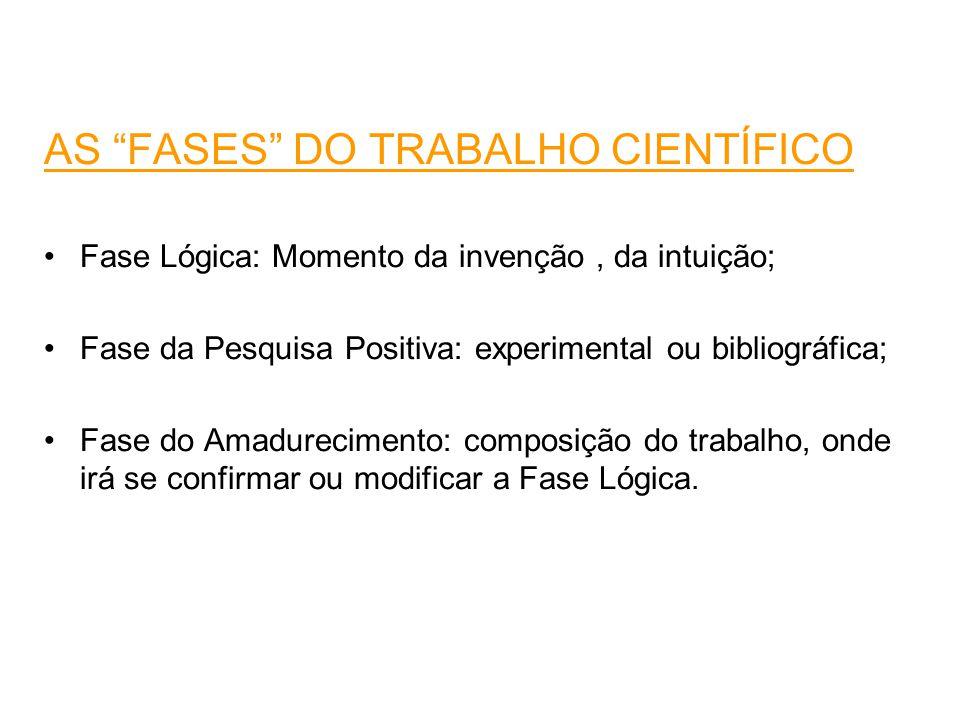 AS FASES DO TRABALHO CIENTÍFICO