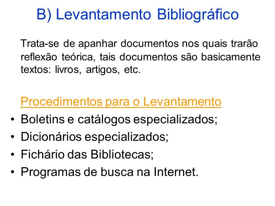 B) Levantamento Bibliográfico