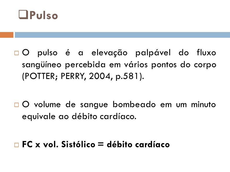 Pulso O pulso é a elevação palpável do fluxo sangüíneo percebida em vários pontos do corpo (POTTER; PERRY, 2004, p.581).