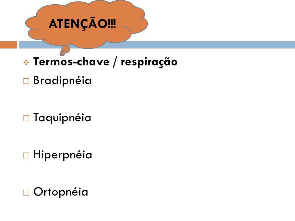 ATENÇÃO!!! Termos-chave / respiração Bradipnéia Taquipnéia Hiperpnéia
