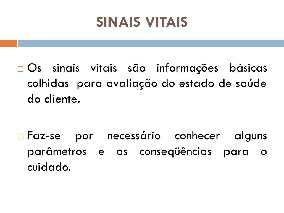 SINAIS VITAIS Os sinais vitais são informações básicas colhidas para avaliação do estado de saúde do cliente.