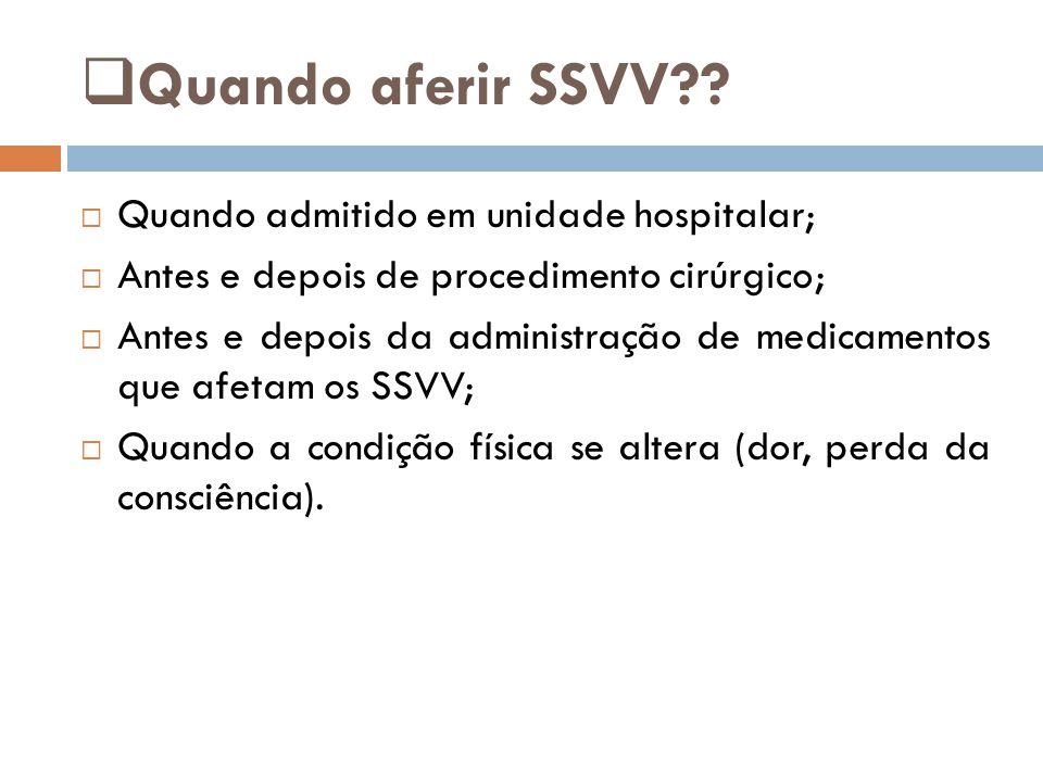 Quando aferir SSVV Quando admitido em unidade hospitalar;