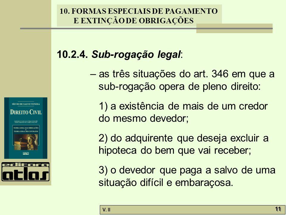 10.2.4. Sub-rogação legal: – as três situações do art. 346 em que a sub-rogação opera de pleno direito: