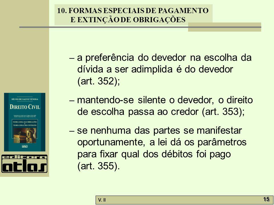 – a preferência do devedor na escolha da dívida a ser adimplida é do devedor