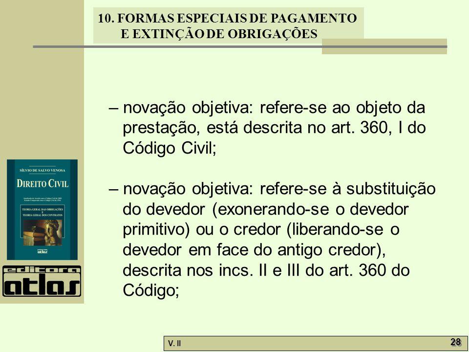 – novação objetiva: refere-se ao objeto da prestação, está descrita no art. 360, I do Código Civil;