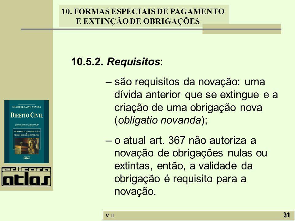 10.5.2. Requisitos: – são requisitos da novação: uma dívida anterior que se extingue e a criação de uma obrigação nova (obligatio novanda);